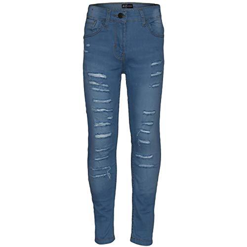 A2Z Pantalones elásticos para niños y niñas, color azul claro, Azul claro, 11-12 Años