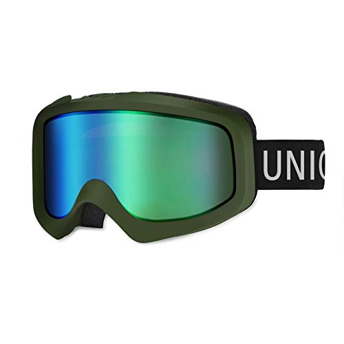 Unigear Skido X1 Ski Goggles, Snowboard Snow Goggles for Men, Women & Youth – Anti-Fog & 100% UV Protection (Revo Green Lens (VLT 52.5%))
