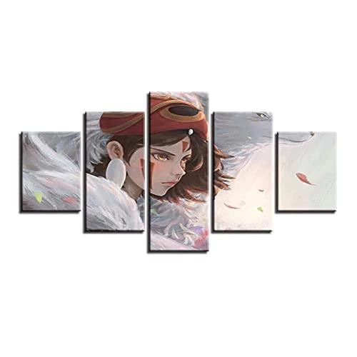 Princesa Manga 5 Piezas Cuadros Decoracion Dormitorios Modernos/para Comedor/Cabeceros de Cama/el BañO/Decoracion Hogar Salon-200 x 100 cm