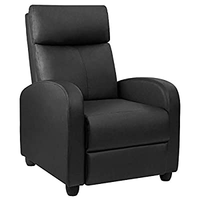 Devoko Recliner Chair Home Theater Seating Pu Leather Modern Living Room Chair Padded Cushion Reclining Sofa