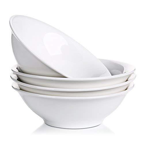 LIFVER 28 Ounce Porcelain Bowl Set, Cereal, Soup, Pasta Bowls, White, Set of 4, 8 Inch