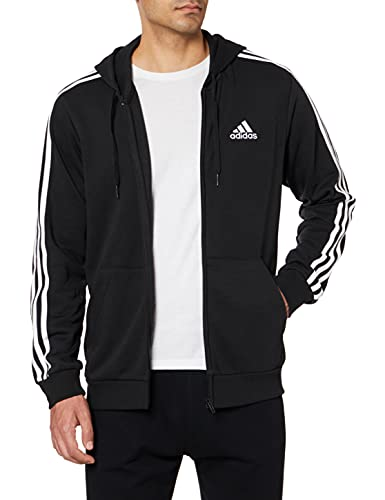 adidas GK9032 M 3S FT FZ HD Sweat Mens Black/White XL