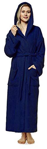 Arus Damen-Bademantel-Astra mit Kapuze, wadenlang, Größe: L/XL, Farbe: Marine
