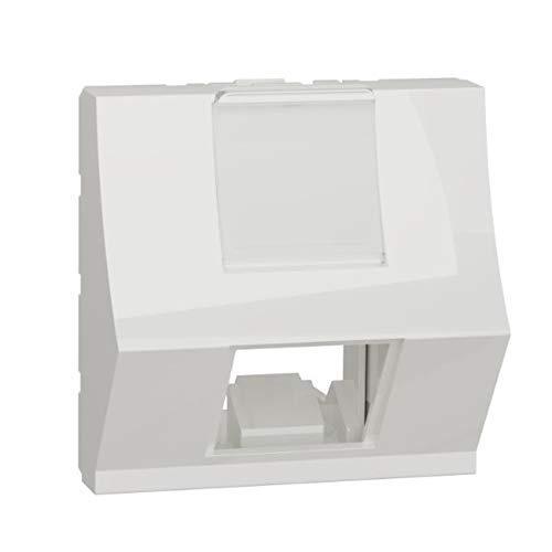 Carátula toma RJ45, inclinada, 2 módulos, color blanco polar (Schneider Electric NU940718)