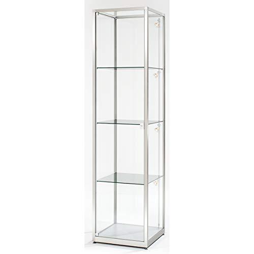 BST - Vitrina de columna, altura de 2000 mm, 1 puerta giratoria, 500 x 500 mm, anodizado en plata, vitrina de exposición, vitrina de cristal, vitrina de pie, vitrina de vitrina