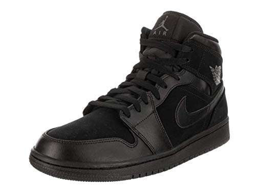 Nike Herren Air Jordan 1 Mid Basketballschuhe, Schwarz (Black/Dark Grey/Black 050), 45 EU