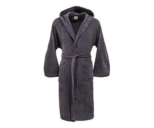 Bassetti - Albornoz con capucha para hombre/mujer, disponible en varias tallas y colores, 100% algodón negro gris oscuro Taglia L