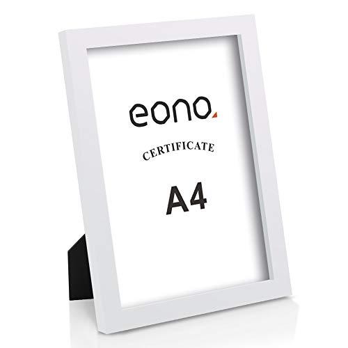 Amazon Brand – Eono 20x28.8 Bilderrahmen Hergestellt aus Massivholz Hochauflösendes Glas Geeignet zum Aufstellen oder Wandhängend Fotorahmen mit Ständer Weiß