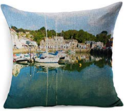 Blue Oil Padstow Harbour North Cornwall Coast England Sports Recreation Painting Artistic Colour Boat Britain Cotton Linen Cushion Covers 45cm x 45 cm for Living Room Christmas Pillow Cases