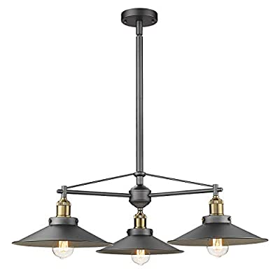 3-Light Pendant Light, HWH Industrial Vintage Hanging Light Fixture for Kitchen Island, Dining Room, Pool Table with Adjustable Height, Dark Grey, 5HZG22-LP3