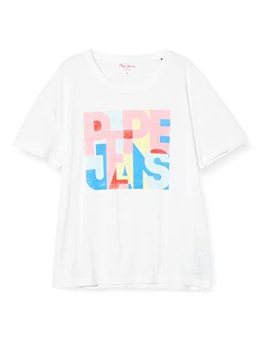 Pepe Jeans T-Shirt PL504439 Short, Blanco (Optic White 802), Small para Mujer