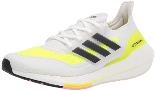 adidas Women's Ultraboost 21 Running Shoe, White/Black/Solar Yellow, 5.5