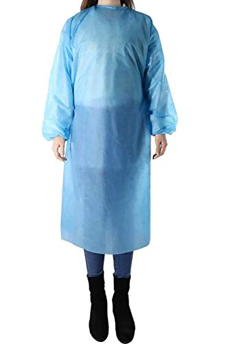 Disposable Quarantine Protective Gown - Full Body Isolation Blue Gown Suit (Pack Of 20)