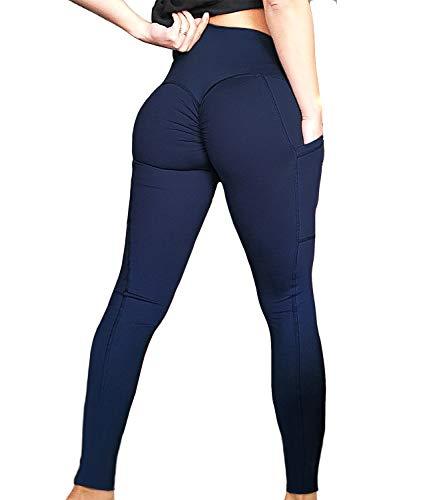 FITTOO Womens Scrunch Yoga Pants Sport Workout Leggings High Waist Tight Side Pocket Navy(S)