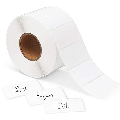1000 Etiketten Selbstklebend Haushaltsetiketten blanko auf Rolle 6x3 cm von Sinoest Klebeetiketten Tiefkühletiketten Aufkleber weiß für Büro Küche Marmelade
