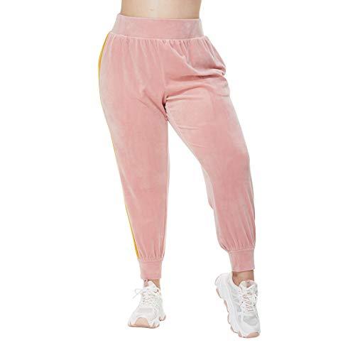 Damskie spodnie dresowe w dużych rozmiarach z aksamitnymi nogawkami elastyczny pas boczne z kieszeniami, różowy, 3X