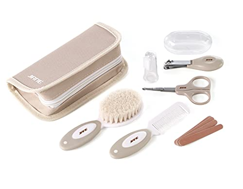 Jané Set de Higiene con Neceser, Peine, Cepillo Cerda Natural, Tijeras, Cortauñas, Lima, Cepillo Dental Silicona
