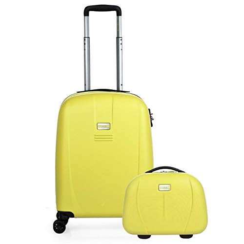JASLEN - Set of Cabin Suitcase and Beauty case Rigid, Resistant and Light. ABS Telescopic Handle, 2 Handles, 4 Double Wheels. TSA Lock. Small Low Cost 56550B, Color Yellow-Silver
