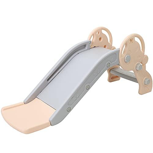 seathestars すべり台 室内 屋外 子供用 滑り台 なだらかスロープ設計 二段式スロープ 耐荷重50kg (ピンク)