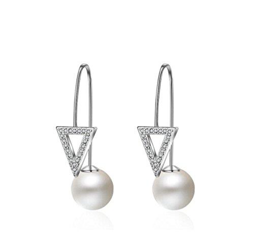 Pendientes pequeños de Boowhol, con clip, triángulo, con perlas de circonita AAA, plata de ley 925