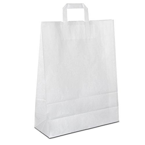 50 x Papiertragetaschen weiss 32+12x40 cm | stabile Papiertüten | Einkaufstüten Flachhenkel | Papiertaschen Mittel | Paper Bag | HUTNER
