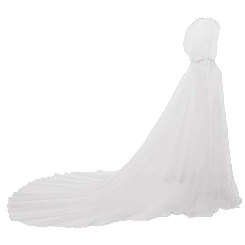 GRACEART Damen Tüll Umhang Hochzeit Mantel mit Kapuze Lange Jacke Braut Wraps Cape (Weiß)