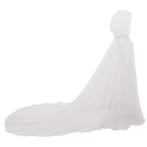 GRACEART Mantello da Sposa Mantello Lungo Tulle Abito da Sposa Costumi per Halloween (Bianco)