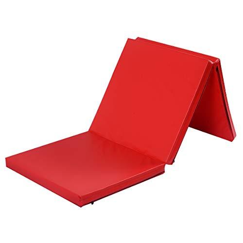COSTWAY 180 x 60 x 5 cm Weichbodenmatte klappbar, Gymnastikmatte tragbar, Yogamatte wasserabweisend, Turnmatte rutschfest, Klappmatte, Fitnessmatte(rot)