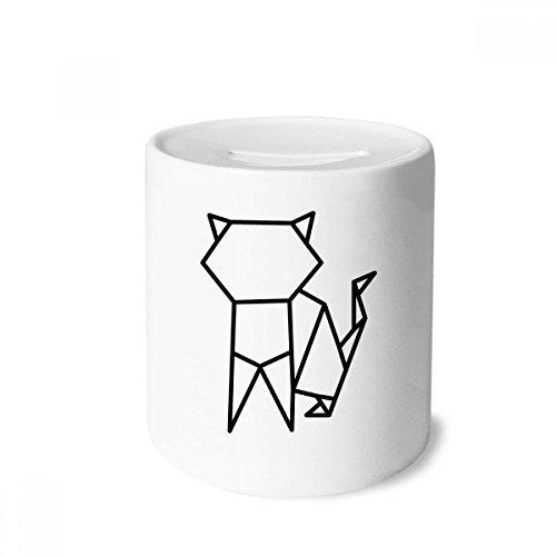 DIYthinker Resumen de Origami Gato Forma geométrica Caja de Dinero de Las Cajas de ahorros de cerámica Adultos Moneda de la Caja para niños