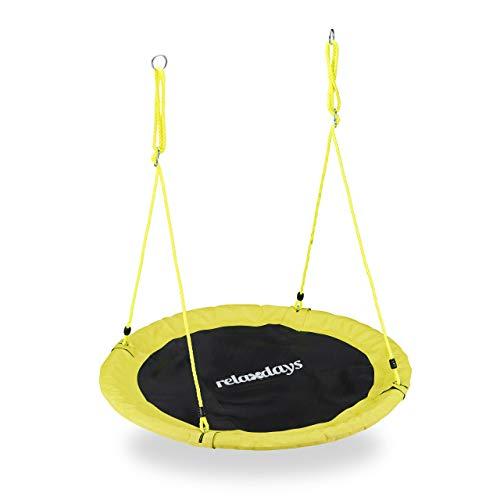 Relaxdays Unisex– Erwachsene, gelb Nestschaukel, Outdoor Schaukel für Kinder & Erwachsene, Ø 110 cm, bis 100 kg, rund, Tellerschaukel, H x D: ca. 5 x 110 cm