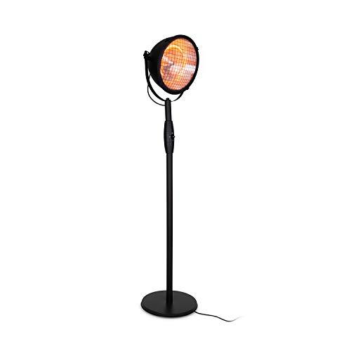 Blumfeldt Heatspot Calefactor para Exteriores - Calefactor infrarrojo, 900, 1500 ó 2100 W, Tecnología IR ComfortHeat, Calentador de Carbono, Antivuelco, IP54, Apto para Exteriores, Negro