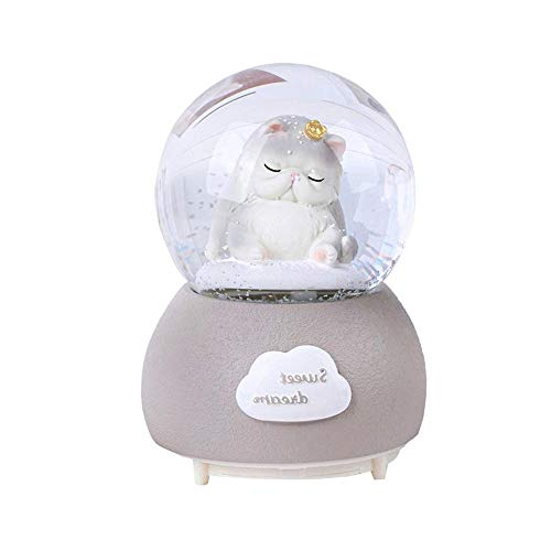 QTKJ Cute Cat Musical Snow Globe with Color Changing LED Lights, Perfect Wedding Home Decor Valentine's Gift Souvenirs