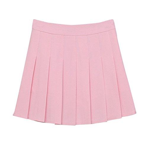 Gonna da Tennis da Donna Tinta Unita Stile Vita Alta A Pieghe Taglio Ad A Pink XS
