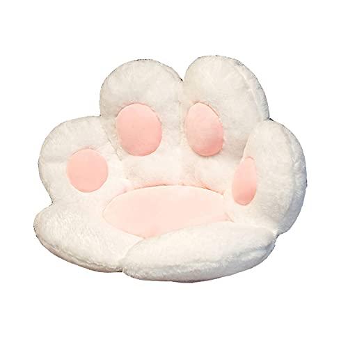 WANGPIN Cat Paw Cushion Cute Seat Cushion Chair Pads Kawaii Plush Pillow Soft Comfortable Lazy Sofa Office Floor Mat (White,27.5x23.6 inch)