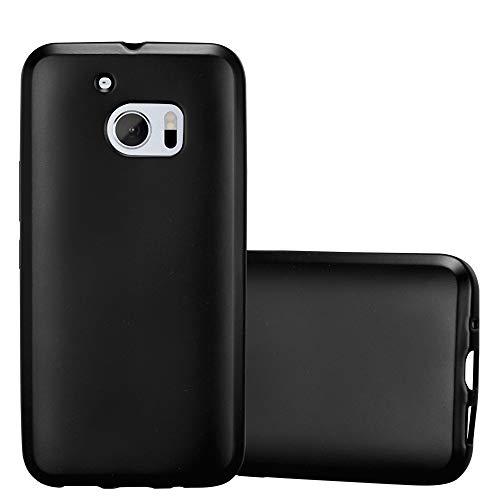 Cadorabo Hülle für HTC 10 (One M10) in METALLIC SCHWARZ - Handyhülle aus flexiblem TPU Silikon - Silikonhülle Schutzhülle Ultra Slim Soft Back Cover Hülle Bumper