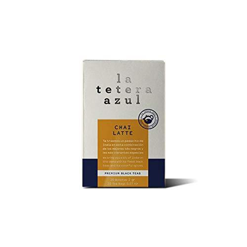 LA TETERA AZUL Zwarte thee met gember en kaneel. Low Theine Infusion. Kaneel thee. Chai Latte. 20 zakjes van 2 gram.