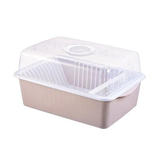 POMNGYUIL Estante para cubiertos, estante de drenaje de platos, estante de almacenamiento de cubiertos, con estante de tapa, organizador de placa de gabinete de plástico, organizador de mesa de cocina
