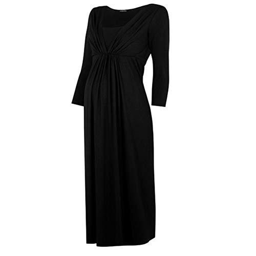 FWJ-clothes Frauen Mutterschaft Kleid Schwangerschaft Mutterschaft Kleid Cocktailkleid Langarm Casual Midi Kleid,Schwarz,L