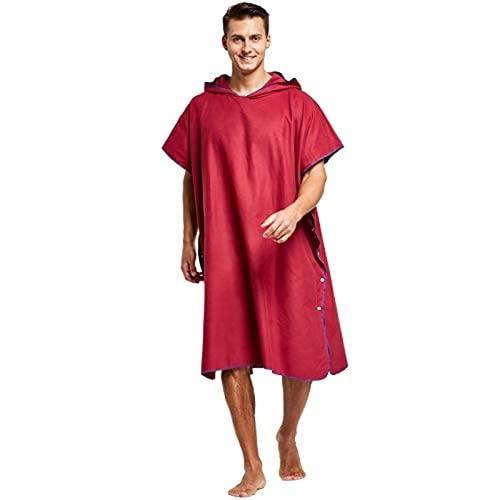 Mantimes Toalla cambiante poncho de surf, poncho, playa, cambio de baño, toalla de secado rápido, para adultos, ligera, color negro, M (rojo vino, mediano)
