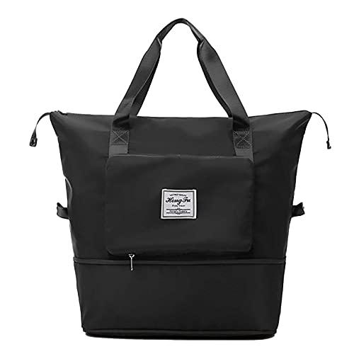 Faltbare Reisetasche mit großer Kapazität,Sporttasche für Mit festem Gurt,Weekender-Tasche mit erweiterbarem Platz,wasserdichte Sporttasche,Fitnessstudio Handgepäck Faltbare Reisetasche (Black)