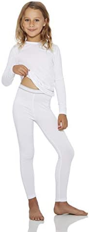 Rocky Thermal Underwear for Girls Fleece Lined Thermals Kids Base Layer Long John Set White product image