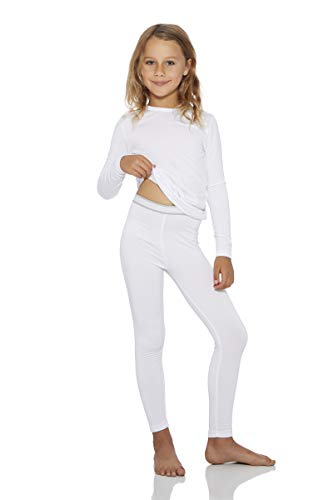 Rocky Thermal Underwear for Girls Fleece Lined Thermals Kids Base Layer Long John Set White