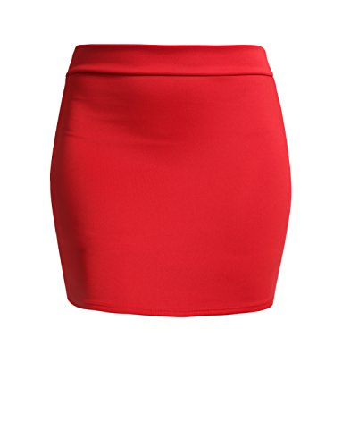 NE PEOPLE Women's Stretch Knit Bodycon Mini Pencil Skirt Made in USA Red