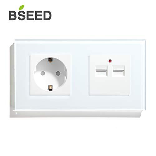 BSEED Schuko Steckdose mit USB Weiß Glas Panel 16 Amp Steckdose 3.1A Doppel USB 157mm Wandsteckdose Verlängerungssteckdosen