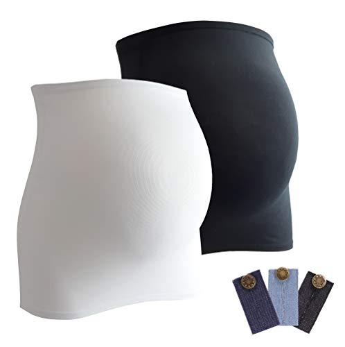 Mamaband Schwangerschaft Bauchband für die Babykugel im Doppelpack + 3erPack Jeanserweiterung – Rückenwärmer und Shirtverlängerung für Schwangere – Elastische Umstandsmode Schwarz/Weiß 38-42