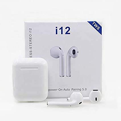 JBM Enterprises I12 Wireless Bluetooth Earphone Mini Twin Portable Bluetooth Headset, with Active Noise Cancellation Technology and Charging Box for All