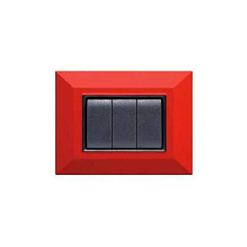 Trade Shop - PLACCA PLACCHETTA PLACCHETTE COMPATIBILI per Serie AXOLUTE BTICINO SQ Colorate - 15628 - Rosso, 3