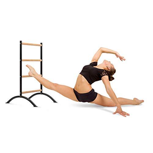 Klarfit Barre Amelie Stretch Ladder - Barra per Allenamento, Barra per Stretching, Lunghezza 24' (61 cm), 4 Altezze, Acciaio Verniciato a Polvere, Antiscivolo, Freestanding, Nero/Legn