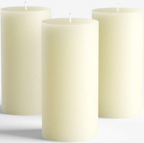 Melt Candle Company Set of 3 Ivory Unscented Pillar Candles 3 x 6 for Weddings Restaurant Home Decoration Spa Church Smokeless