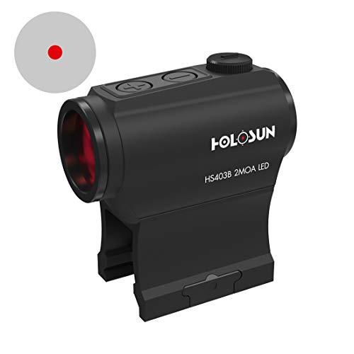 Holosun HS403B Microdot Rotpunktvisier mit 2MOA Punkt Absehen, schwarz, Picatinny/Weaver Schiene, für die Jagd, Sportschießen und Softair, Tactical Micro red dot Sight - 70127379